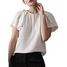 Buy Reiss Josie Short Sleeve Blouse, Off White Online at johnlewis.com