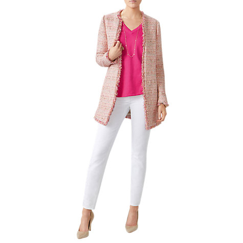 Buy Pure Collection Longline Tweed Jacket, Pink Online at johnlewis.com