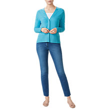 Buy Pure Collection Ribbed Trim V-Neck Cardigan, Soft Turquoise Online at johnlewis.com