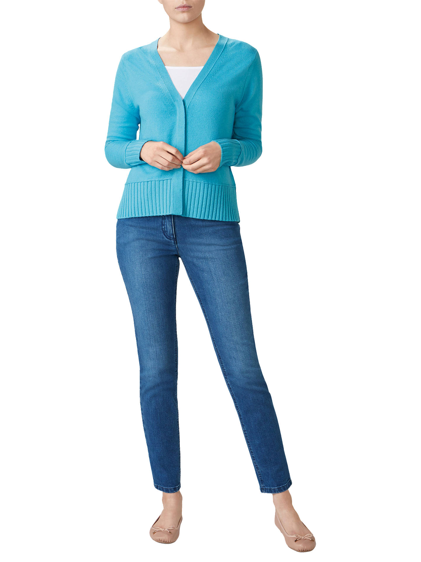 90a850436ca Buy Pure Collection Ribbed Trim V-Neck Cardigan