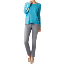 Buy Pure Collection Dipped Hem Sweater, Soft Turquoise Online at johnlewis.com
