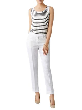 Pure Collection Linen Slim Leg Cropped Trousers