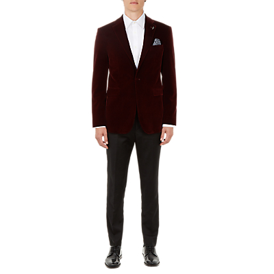 Ted Baker Lunonj Velvet Tailored Blazer, Dark Red