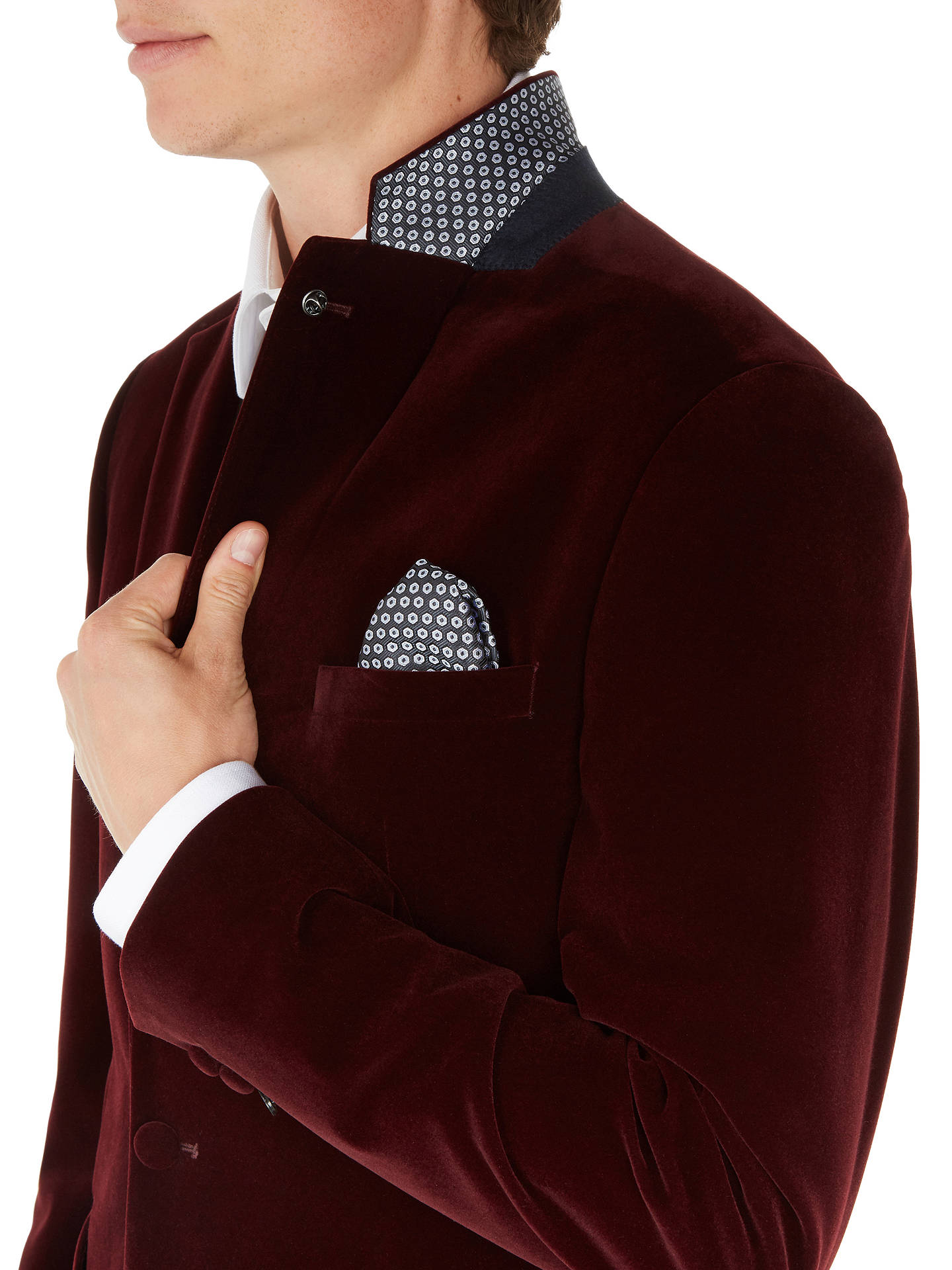 BuyTed Baker Lunonj Velvet Tailored Blazer, Dark Red, 44R Online at johnlewis.com
