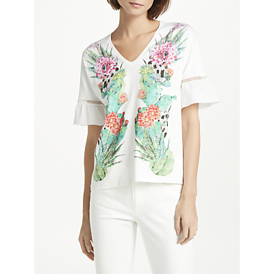 Marc Cain Cactus Print Flared Sleeve T-Shirt, White