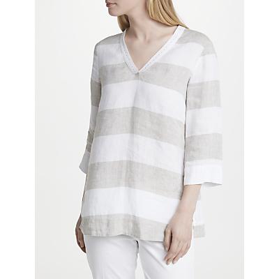 Gerry Weber Stripe Linen Tunic Top, White/Bamboo