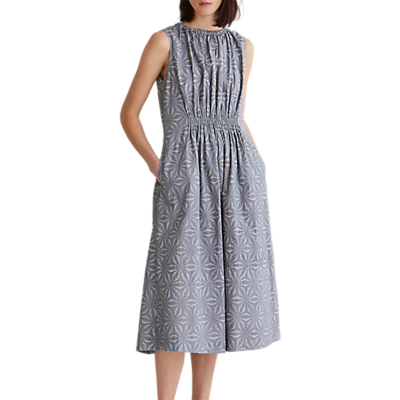 Toast Stella Print Cotton Gathered Dress, Dove Grey