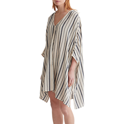 Toast Crepe Stripe Kaftan, Ecru/Denim Blue