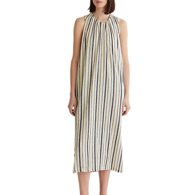 Toast Crepe Stripe Dress, Slate/Denim Blue