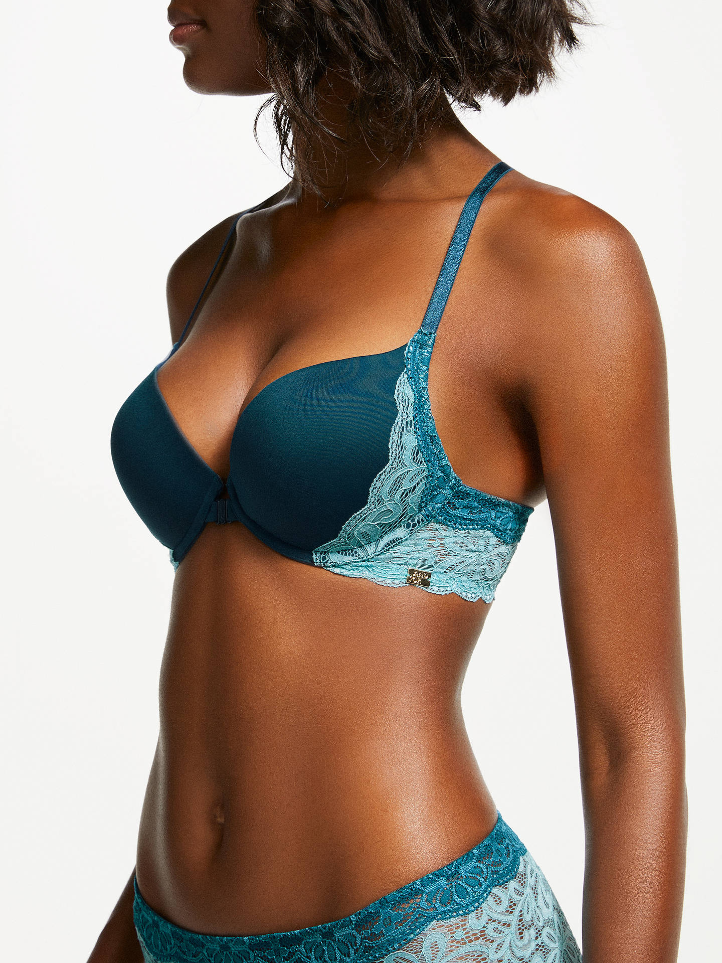 BuyAND/OR Taylor Lace Detail Plunge Bra, Navy/Teal, 32D Online at johnlewis.com