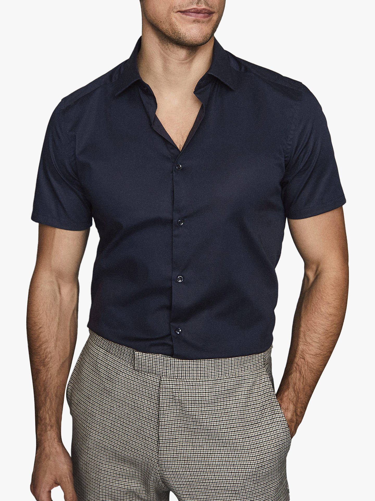 Buy Reiss Redmayne Short Sleeve Slim Fit Shirt, Navy, S Online at johnlewis.com
