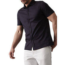 Buy Reiss Jeremy Cotton Pique Short Sleeve Shirt, Navy Online at johnlewis.com