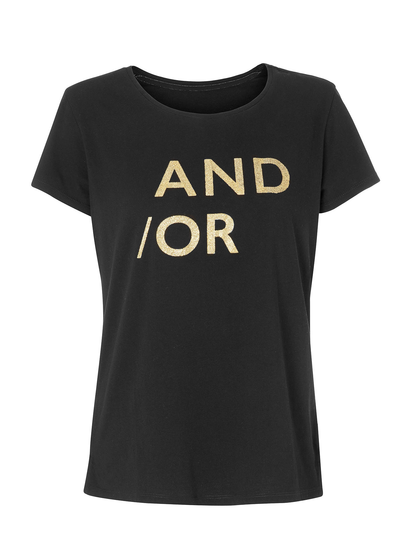 Buy AND/OR Glitter Slogan T-Shirt, Black/Gold, 8 Online at johnlewis.com