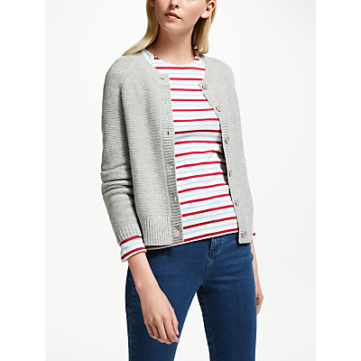 Collection WEEKEND by John Lewis Crew Neck Cardigan, Grey
