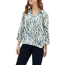 Buy Jaeger Zebra Print Linen Tunic Top, Aqua/Multi Online at johnlewis.com