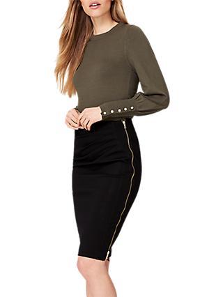 Damsel in a Dress Fionn Ponte Zip Skirt, Black