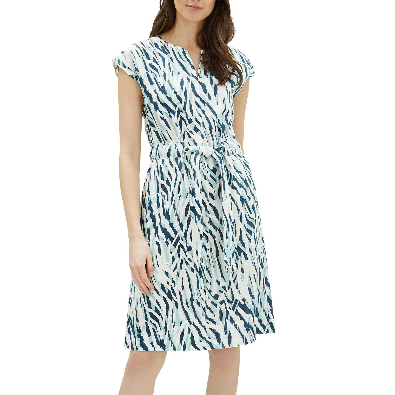 Jaeger Zebra Print Linen Tie Waist Dress, Aqua/Multi at John Lewis