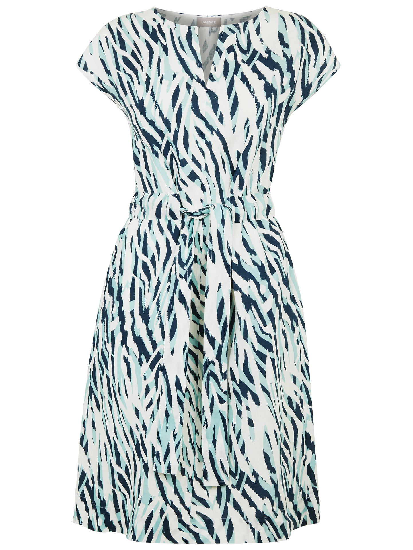 BuyJaeger Zebra Print Linen Tie Waist Dress, Aqua/Multi, 6 Online at johnlewis.com