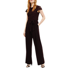 Buy Phase Eight Vicki Lace Bodice Jumpsuit, Port Online at johnlewis.com