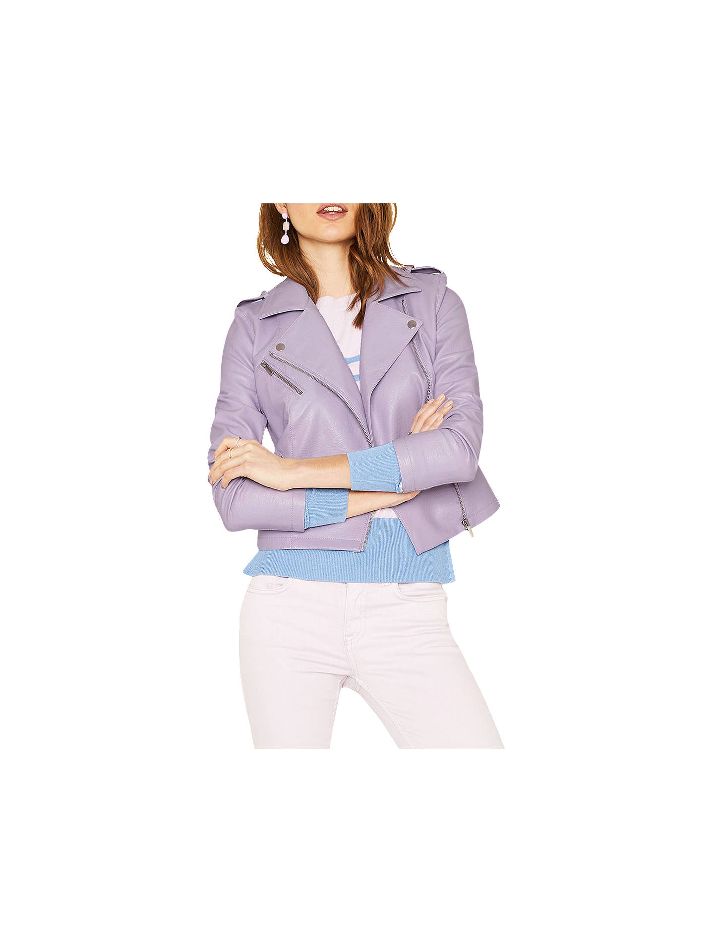 4393adf02b23 Buy Oasis Lucy Faux Leather Biker Jacket, Lilac, XS Online at johnlewis.com  ...