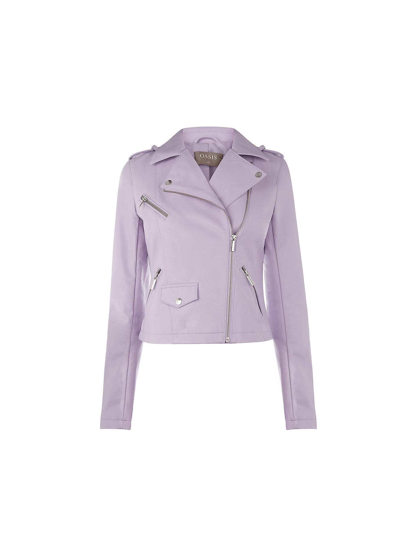 df75b824ffc6 ... Buy Oasis Lucy Faux Leather Biker Jacket, Lilac, XS Online at  johnlewis.com ...