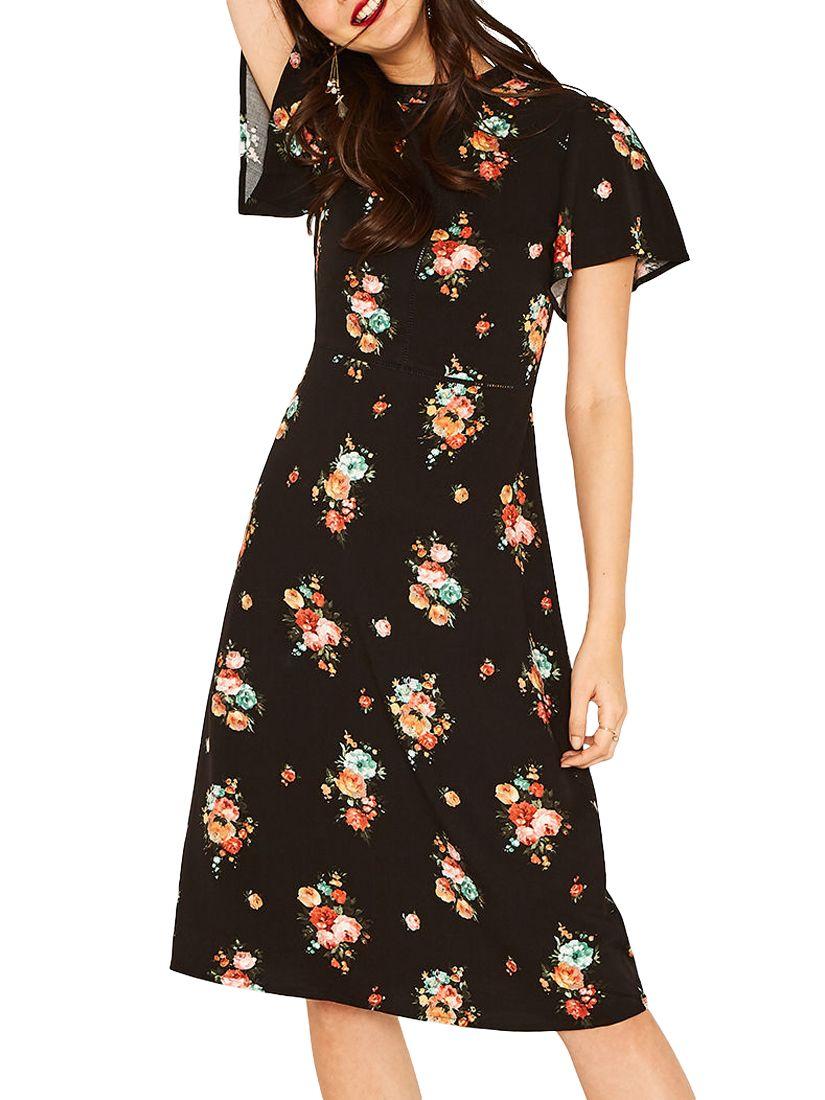 cf23b6bd3a9b Oasis Angel Sleeve Bouquet Dress, Multi/Black at John Lewis & Partners