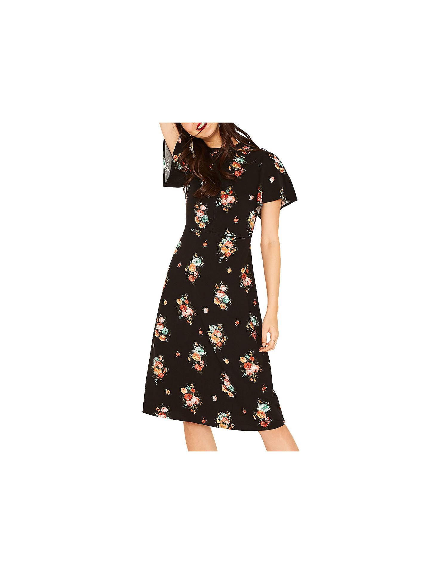 82fd258f4a7f Buy Oasis Angel Sleeve Bouquet Dress, Multi/Black, 6 Online at johnlewis.