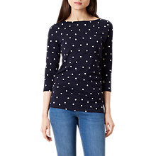 Buy Hobbs Rebecca Spotted Ruched Top, Navy Online at johnlewis.com