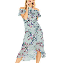 Buy Oasis Jasmine Floral Midi Dress, Multi/Grey Online at johnlewis.com