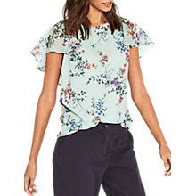 Buy Oasis Jasmine Floral Cape Sleeve Top, Grey/Multi Online at johnlewis.com