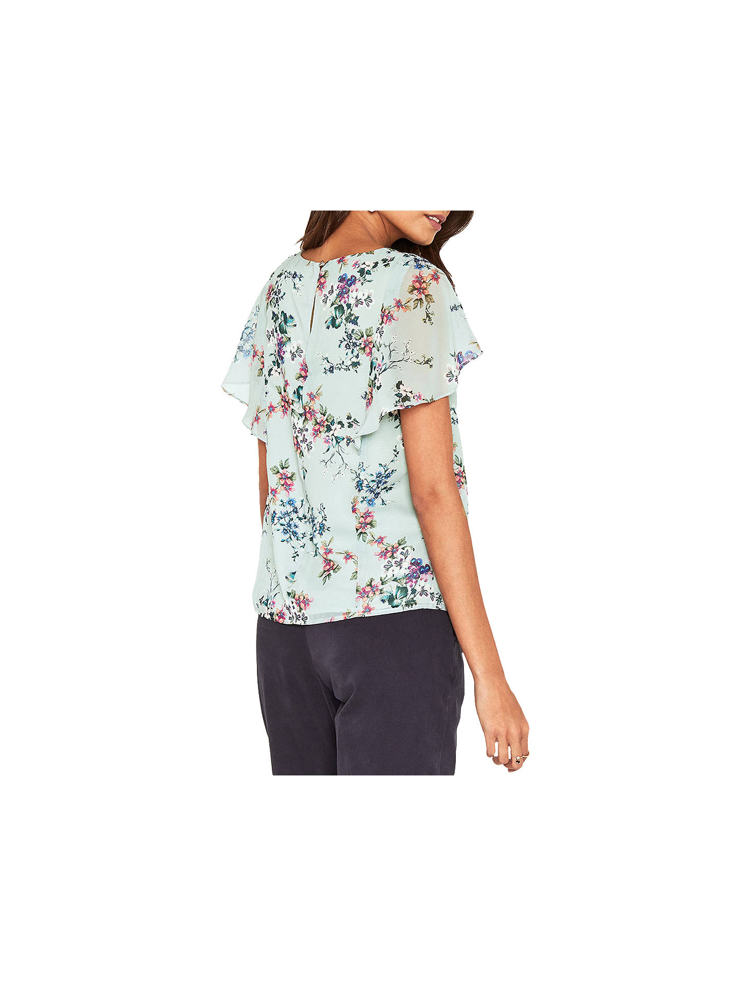 2c670ae1e0919c ... Buy Oasis Jasmine Floral Cape Sleeve Top, Grey/Multi, 6 Online at  johnlewis ...