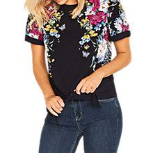 Buy Oasis Tie Waist Floral T-Shirt, Multi/Blue Online at johnlewis.com