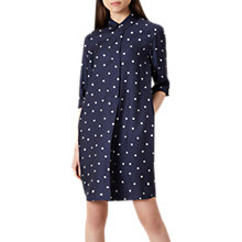 Buy Hobbs Marci Spot Shirt Dress, Navy/White Online at johnlewis.com