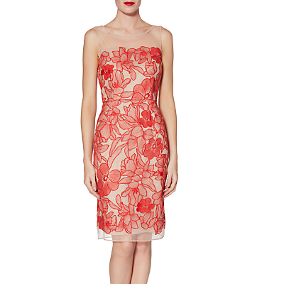 Gina Bacconi Ashley Embroidered Dress, Tropical Red