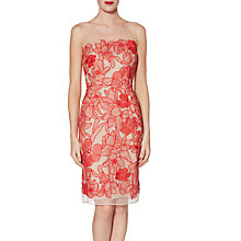 Buy Gina Bacconi Ashley Embroidered Dress, Tropical Red Online at johnlewis.com
