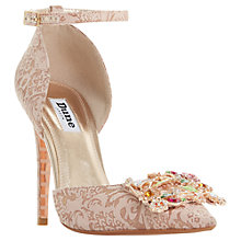 Buy Dune Countess Two Part Stiletto Court Shoes, Rose Gold Leather Online at johnlewis.com