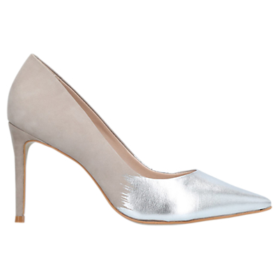 Carvela Alison Pointed Toe Stiletto Court Shoes, Silver Comb Suede