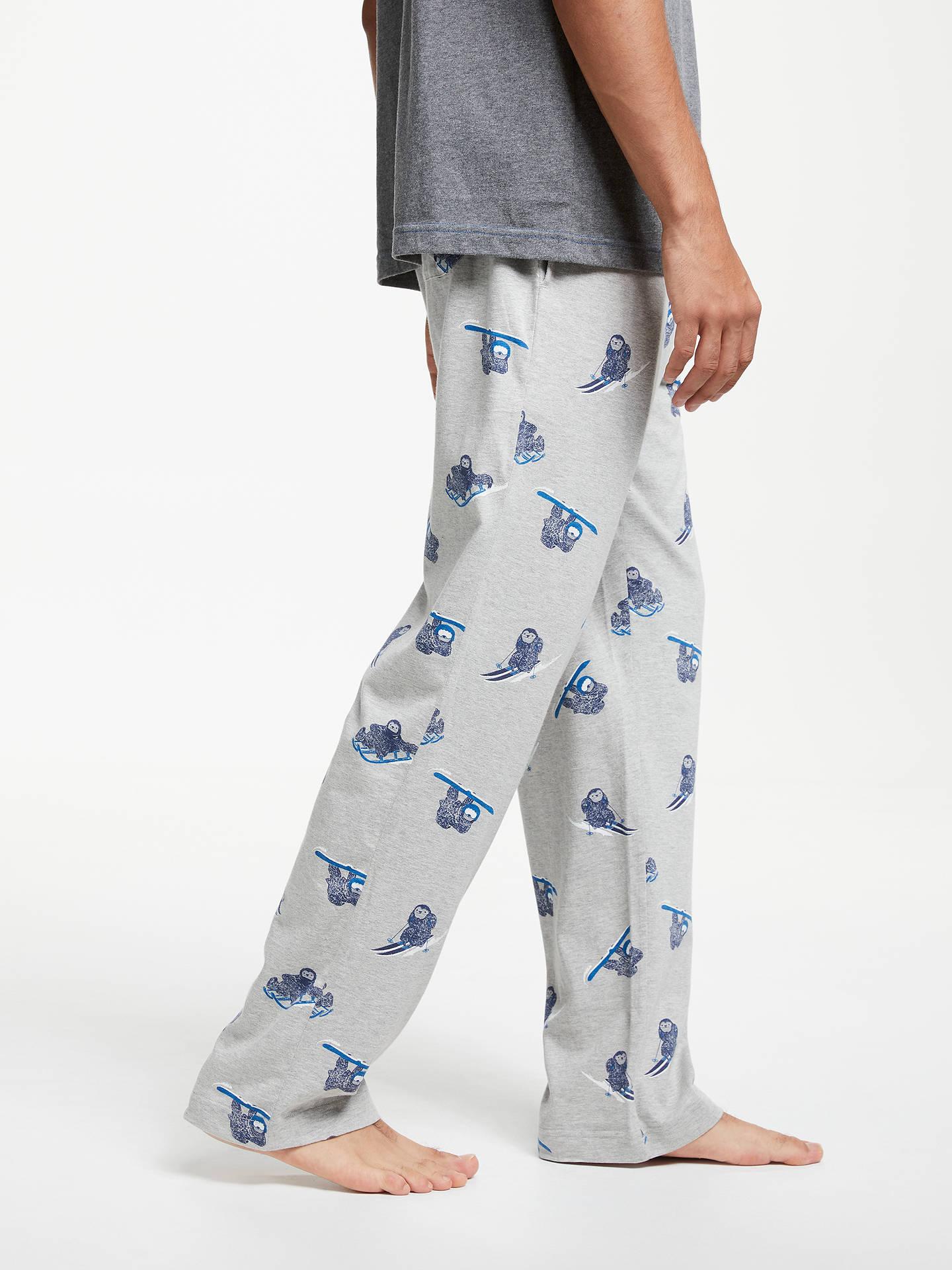 Sloth Print Pyjama Bottoms, Grey
