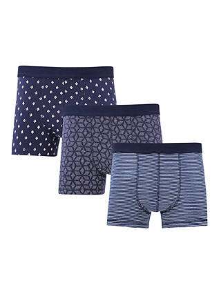 Buy John Lewis & Partners Geo Diamond Hipster Trunks, Pack of 3, Navy, S Online at johnlewis.com