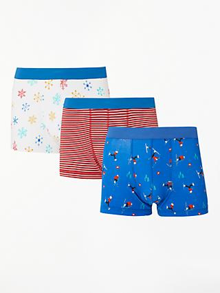 John Lewis & Partners Christmas Ski Hip Trunks, Pack of 3, Multi