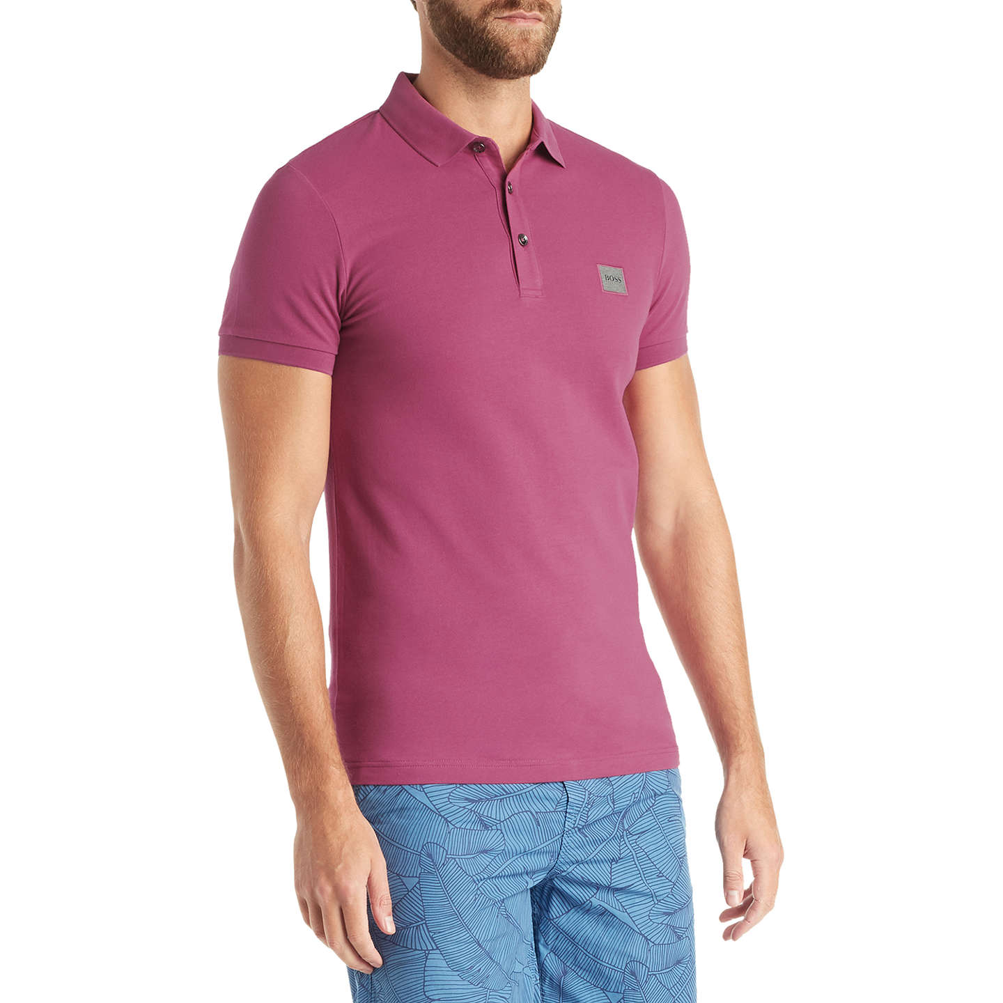 BuyBOSS Passenger Short Sleeve Polo Shirt, Dark Purple, S Online at johnlewis.com