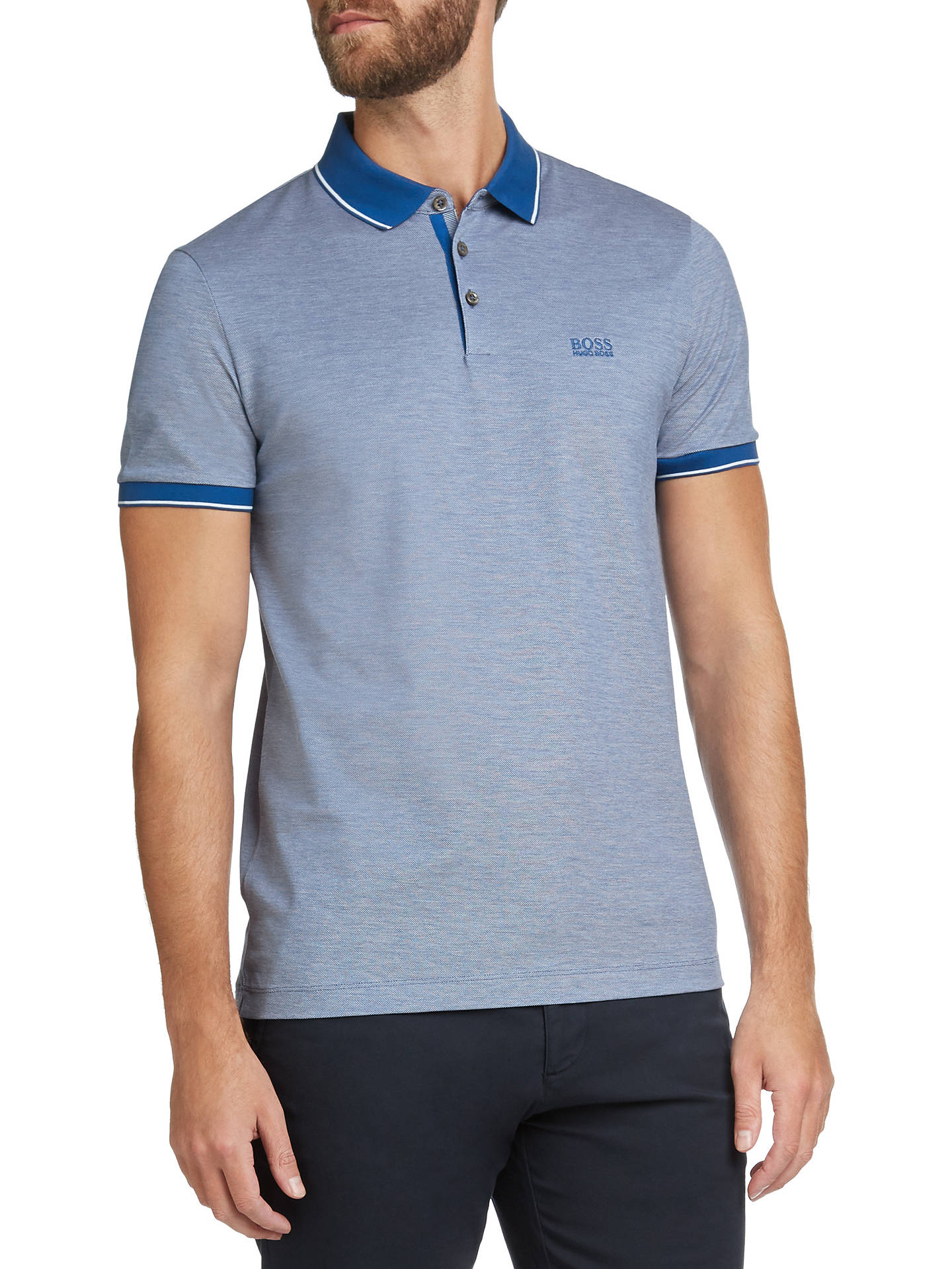 970f8420 Buy BOSS Prout Short Sleeve Polo Shirt, Medium Blue, S Online at johnlewis.