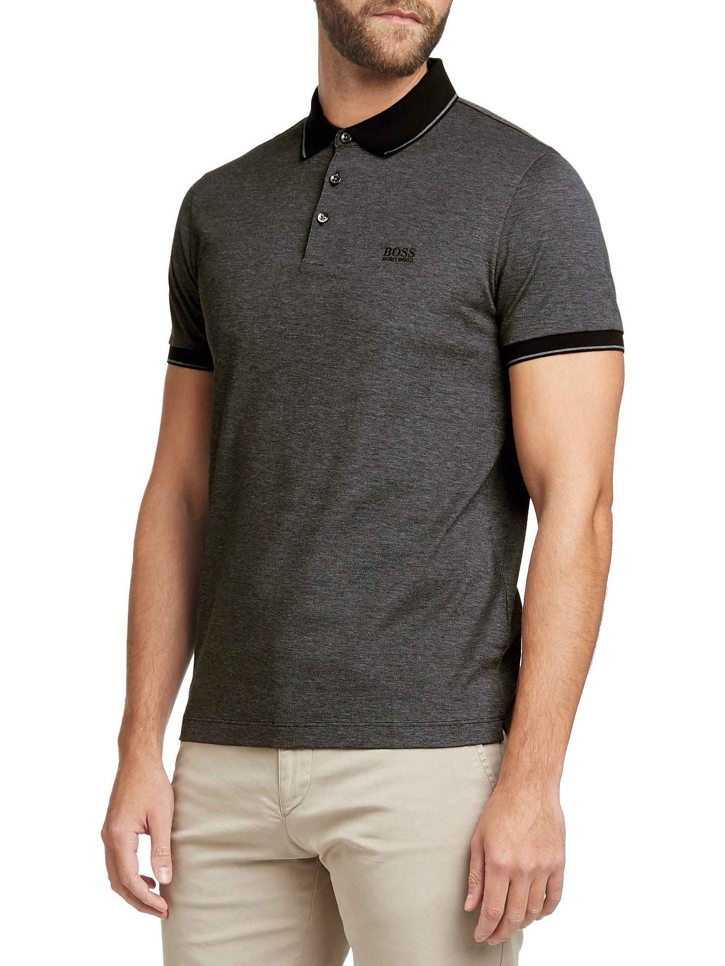 c6b1d07a Buy BOSS Prout Short Sleeve Polo Shirt, Black, S Online at johnlewis.com ...