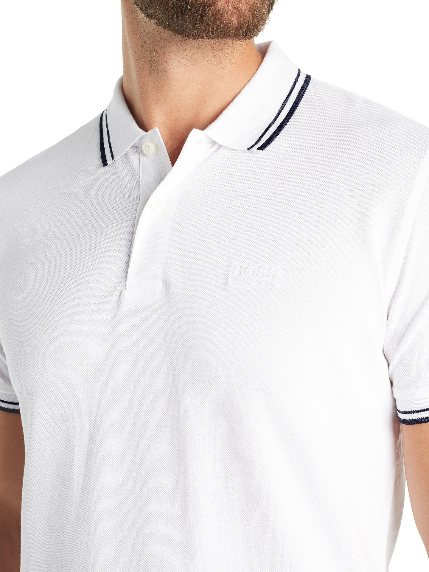 Buy BOSS Parlay Short Sleeve Tipped Polo Shirt, White, S Online at johnlewis.com