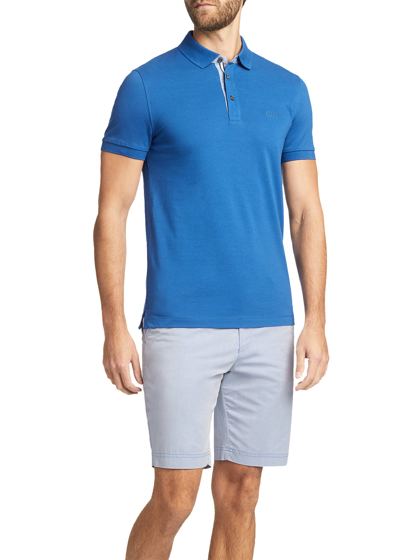 Buy BOSS Crigan Regular Fit Chino Shorts, Blue, 30R Online at johnlewis.com