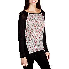Buy Yumi Floral Dipped Hem Jumper, Black Online at johnlewis.com
