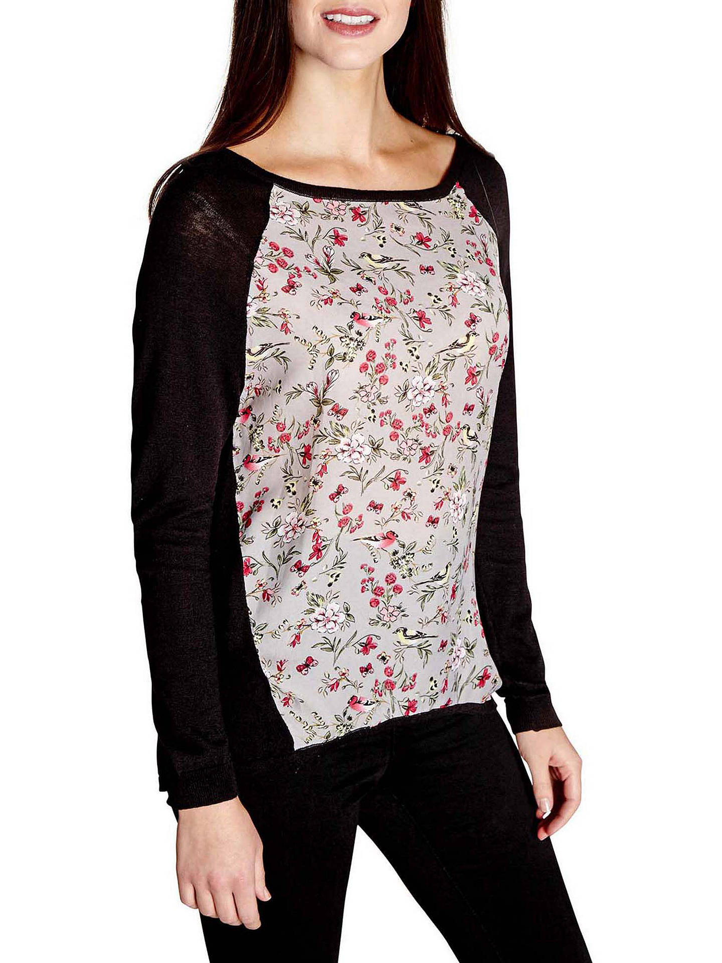 BuyYumi Floral Dipped Hem Jumper, Black, M Online at johnlewis.com