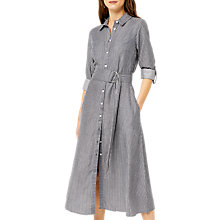 Buy Warehouse Stripe Midi Shirt Dress, Blue Online at johnlewis.com