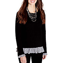 Buy Yumi Frilled Stripe Jumper, Black Online at johnlewis.com