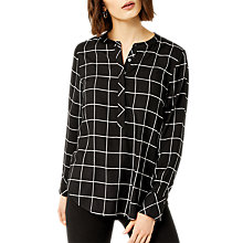 Buy Warehouse Check Button Blouse, Black Online at johnlewis.com